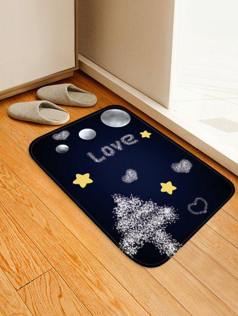 Christmas Tree Night Pattern Anti-skid Flannel Area Rug - DARK SLATE BLUE W20 X L31.5 INCH