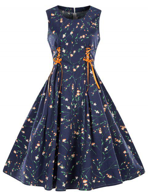 Plus Size Floral Sleeveless Vintage Dress - MIDNIGHT BLUE 2X