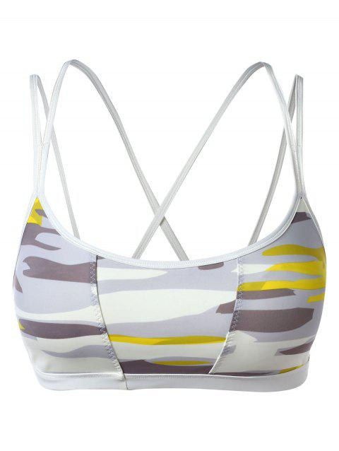 Strappy Cut Print Workout Bra - WHITE XL