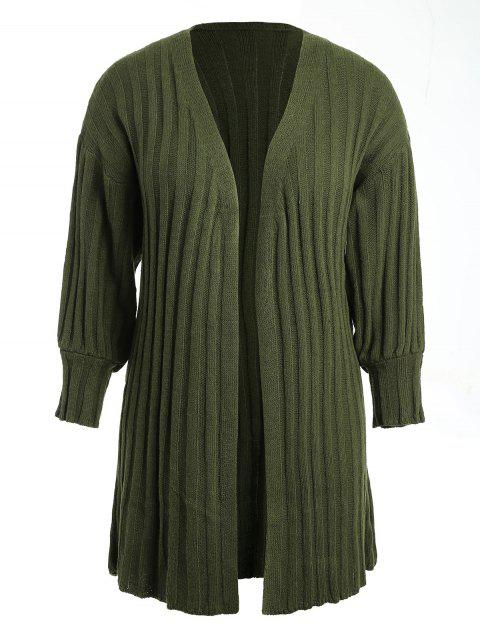 Plus Size Drop Shoulder Duster Cardigan - ARMY GREEN ONE SIZE