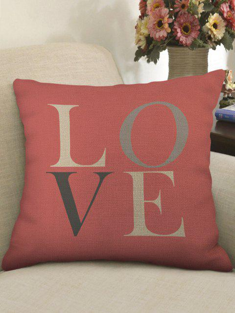 LOVE Print Decorative Sofa Linen Pillowcase - multicolor W18 X L18 INCH