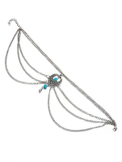 Layered Turquoise Anklet Chain - SILVER