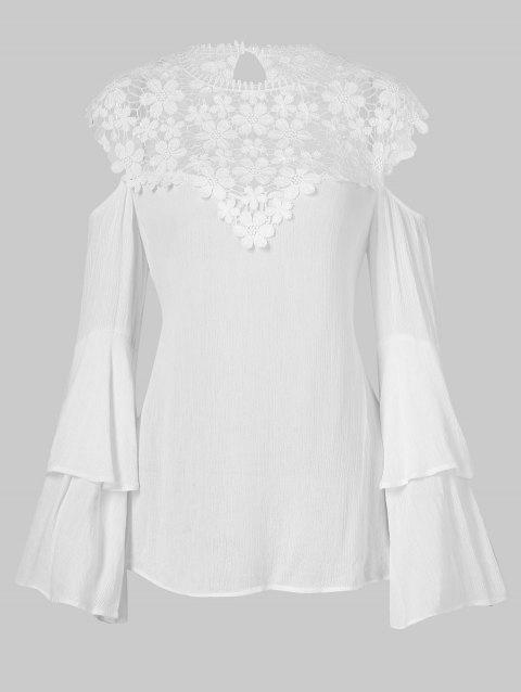 Lace Panel Open Shoulder Flare Sleeve Blouse - WHITE M