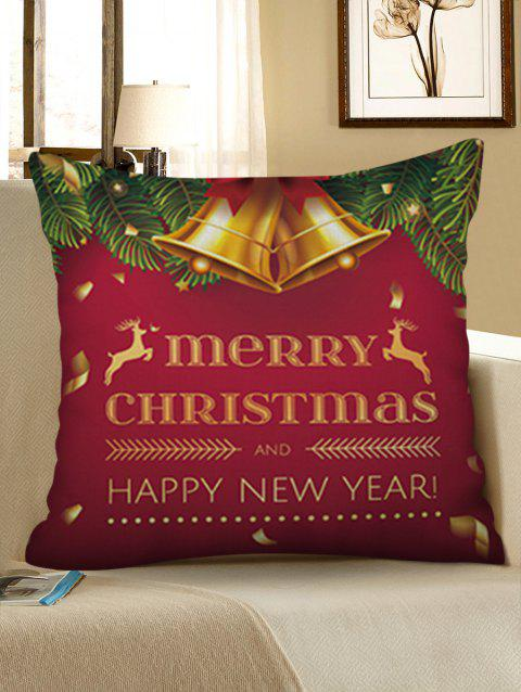 Merry Christmas Bell Printed Pillowcase - RED WINE W18 X L18 INCH