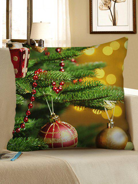 Christmas Tree Ball Printed Pillowcase - GOLDEN BROWN W18 X L18 INCH