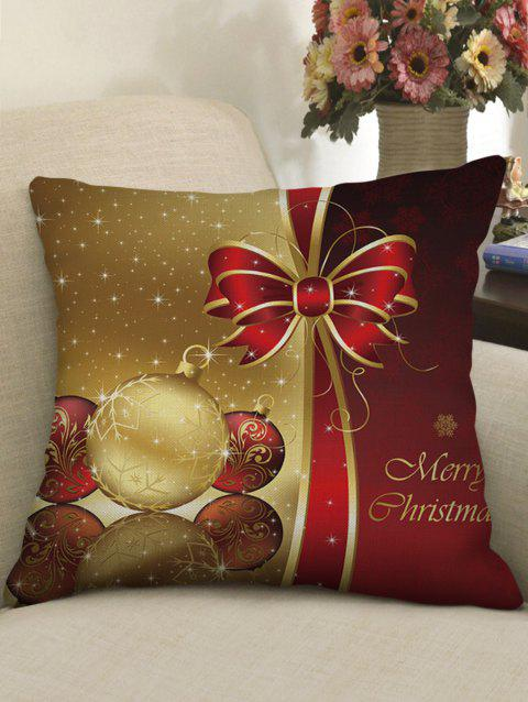 Christmas Bowknot Ball Printed Pillowcase - RED WINE W18 X L18 INCH