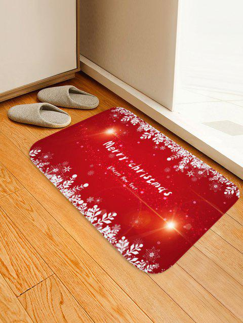 Merry Christmas Pattern Anti-skid Flannel Area Rug - RED W16 X L24 INCH