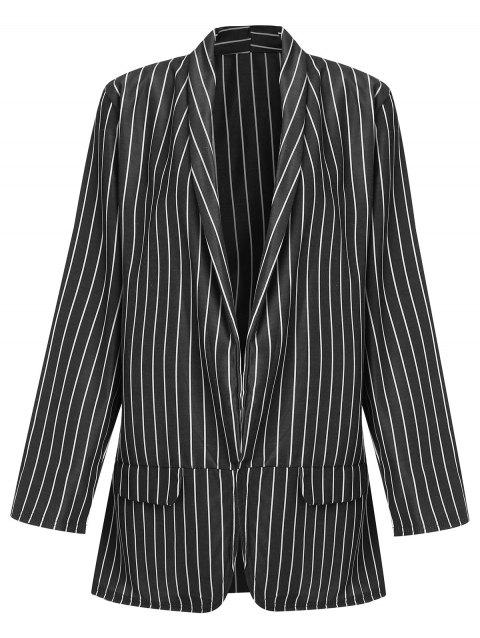 Open Front Striped Long Blazer - BLACK XL