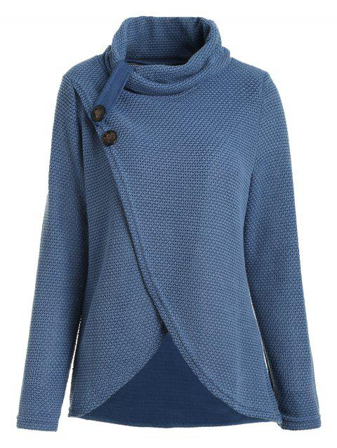 Slit Long Sleeve Tee with Heaps Collar - BLUE L