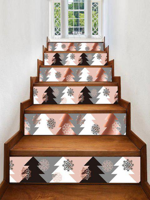 Christmas Tree Snowflake Printed Removable Stair Stickers - multicolor 6PCS X 39 X 7 INCH( NO FRAME )