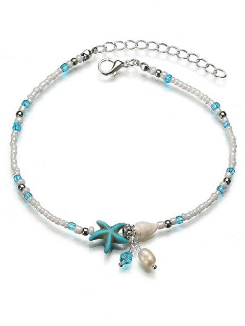 Sea Star and Shell Pattern Anklet Chain - TURQUOISE