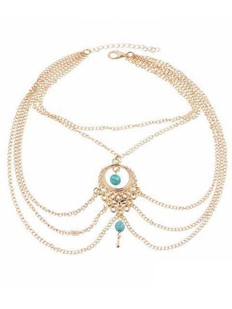 Layered Turquoise Anklet Chain - GOLD