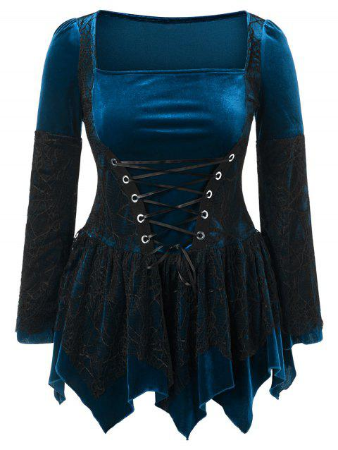Plus Size Halloween Lace Up Peplum Top - LAPIS BLUE 3X