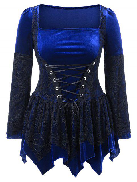 Plus Size Halloween Lace Up Peplum Top - BLUE 4X