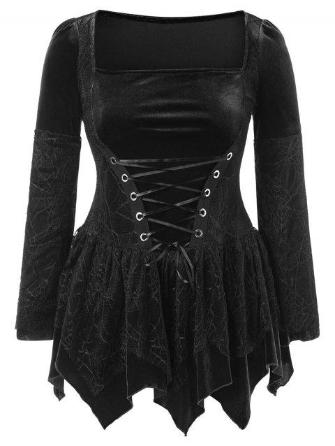 Plus Size Halloween Lace Up Peplum Top - BLACK L