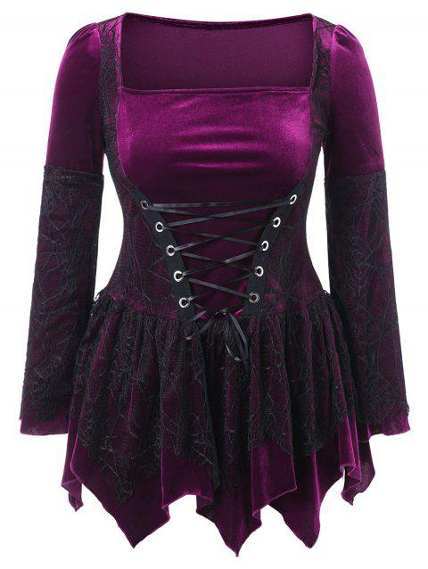 Plus Size Halloween Lace Up Peplum Top - PURPLE IRIS 3X