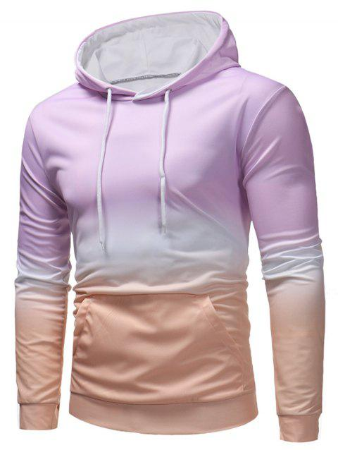 Sweat à Capuche Pull-over Couleur Contrastée - Mauve 2XL