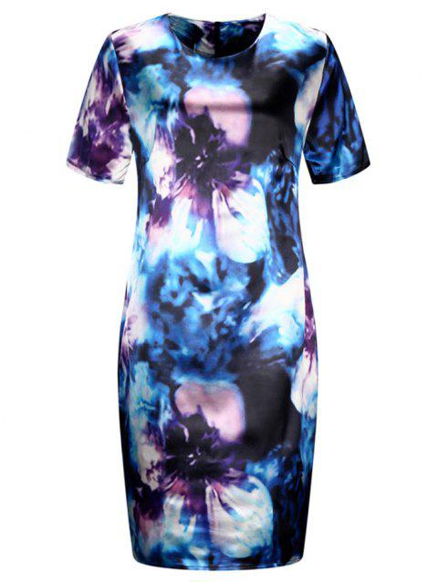Plus Size Flower Pattern Bodycon Dress - BLUE 3X