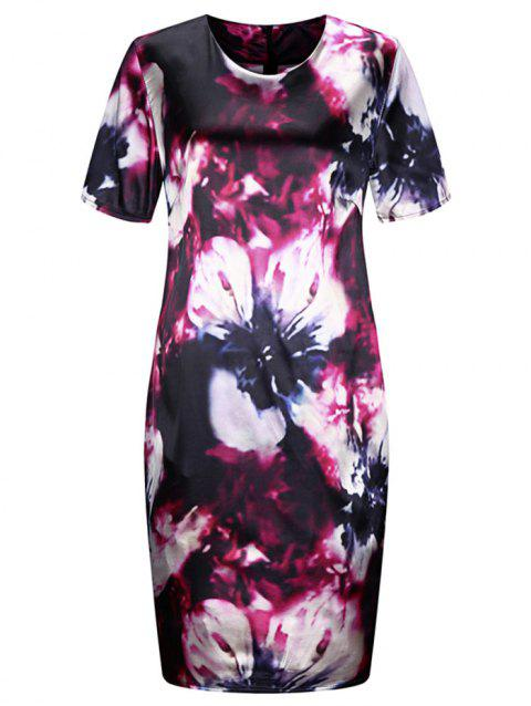 Plus Size Flower Pattern Bodycon Dress - ROSE RED 2X