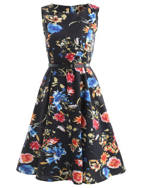 Floral Print Mid Fit and Flare Dress - multicolor A XL