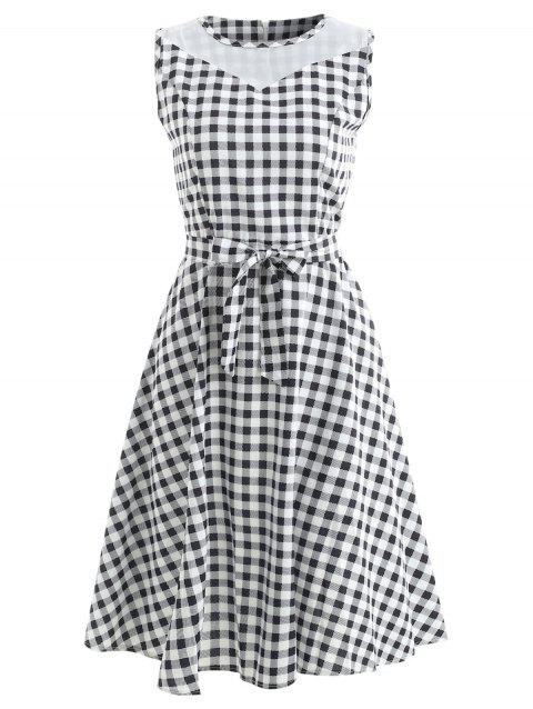 Sleeveless Plaid Print Fit and Flare Dress - multicolor M