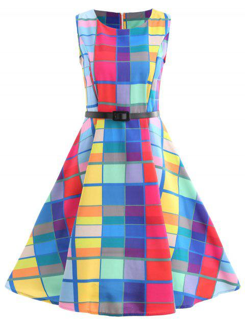 Sleeveless Plaid Fit and Flare Dress - multicolor B L