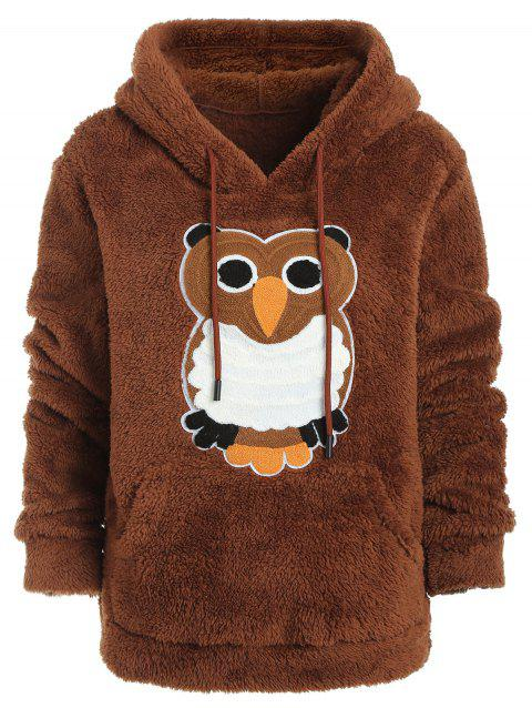 Owl Patch Plush Hoodie - BROWN L