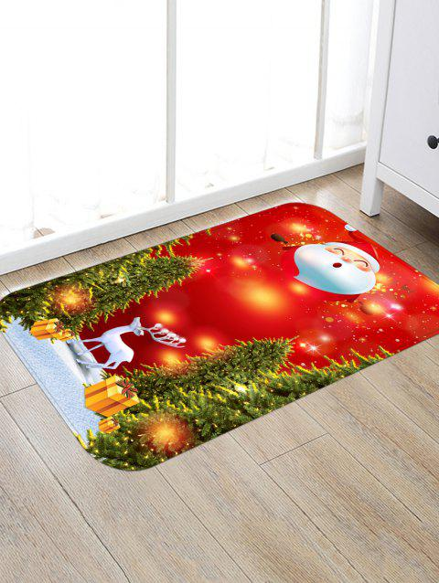 Father Christmas Deer Printed Non-slip Area Rug - RED W20 X L31.5 INCH