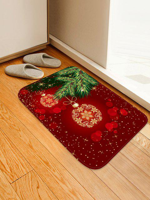 Christmas Ball Printed Non-slip Area Rug - RED W20 X L31.5 INCH