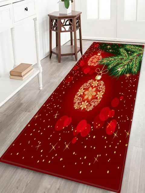 Christmas Ball Printed Non-slip Area Rug - RED W24 X L71 INCH