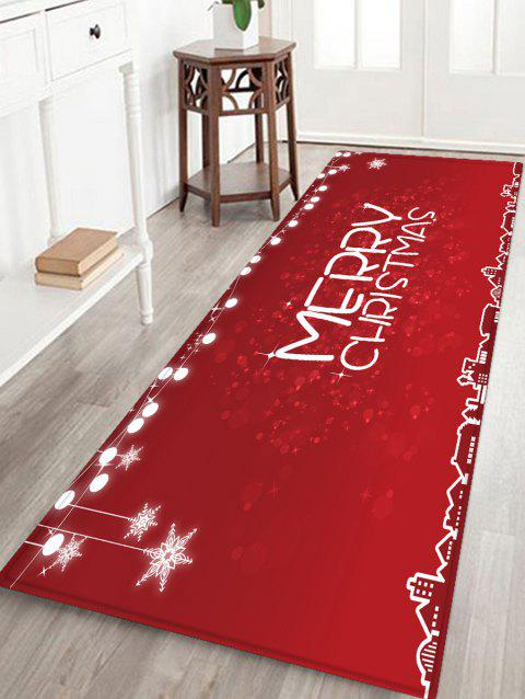 Merry Christmas Printed Non-slip Area Rug - RED W16 X L47 INCH