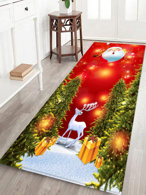 Father Christmas Deer Printed Non-slip Area Rug - RED W16 X L47 INCH