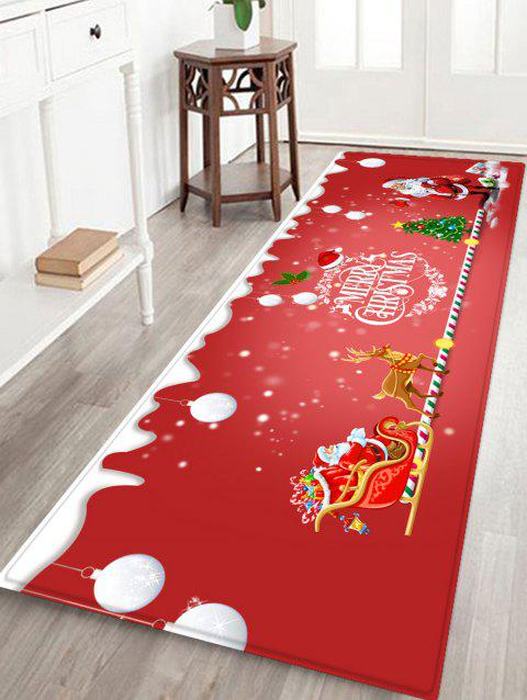 Father Christmas Elk Printed Non-slip Area Rug - RED W24 X L71 INCH