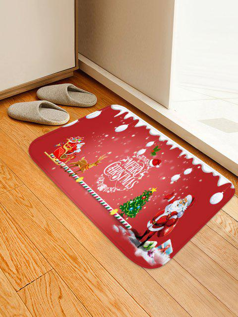 Father Christmas Elk Printed Non-slip Area Rug - RED W20 X L31.5 INCH