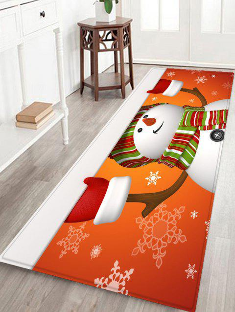 Christmas Snowman Printed Non-slip Area Rug - RED W24 X L71 INCH