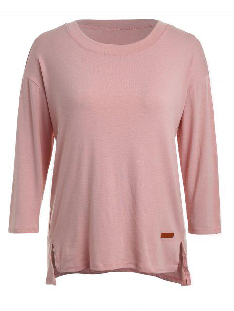 Plus Size Long Sleeve Casual T-shirt - PINK 1X