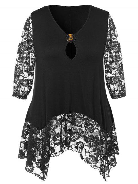 Plus Size Lace Hem Asymmetrical T-shirt - BLACK 4X