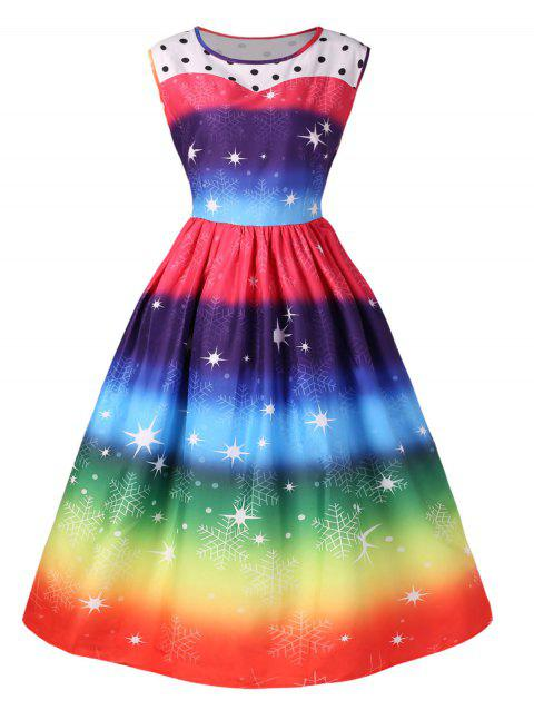 Christmas Vintage Rainbow Color Flare Dress - multicolor 2XL