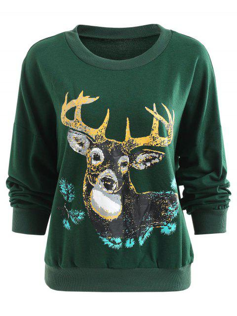 Sweat-shirt Pull-over Cerf Imprimé - Vert Mer Moyen L