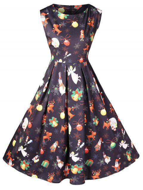 Christmas Printed Vintage Dress - BLACK L