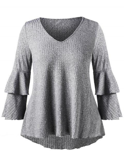 Plus Size Bell Sleeve Ribbed T-shirt - GRAY 1X