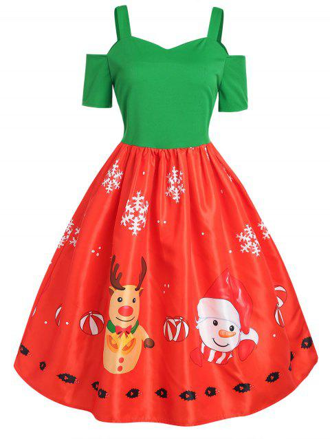 plus size reindeer print christmas dress multicolor l