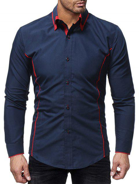 Color Block Stiped Button Down Shirt - MIDNIGHT BLUE L