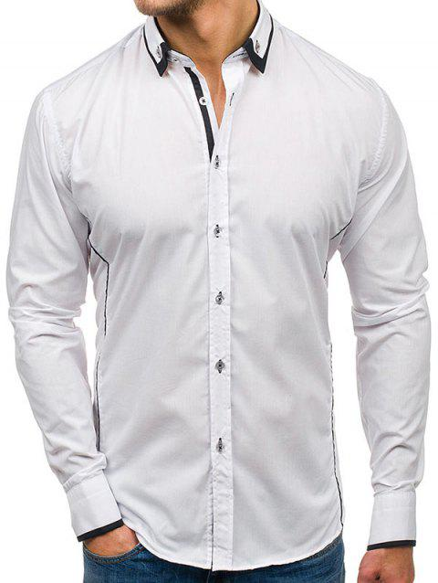 Color Block Stiped Button Down Shirt - WHITE S
