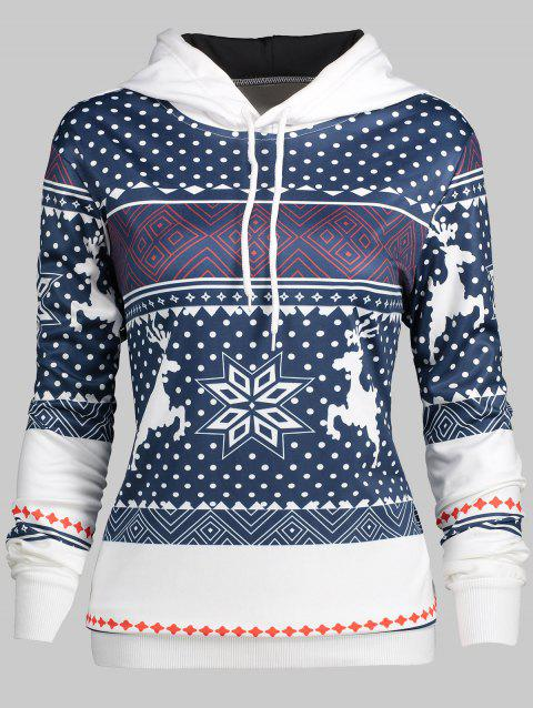 Plus Size Snowflake Christmas Hoodie - multicolor 3X