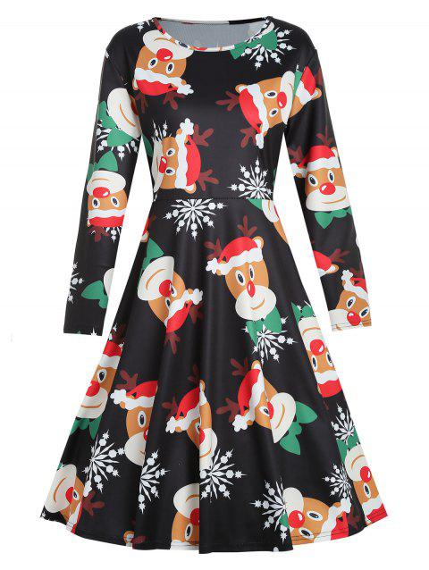 Plus Size Snowflake Print Christmas Dress - BLACK 2X