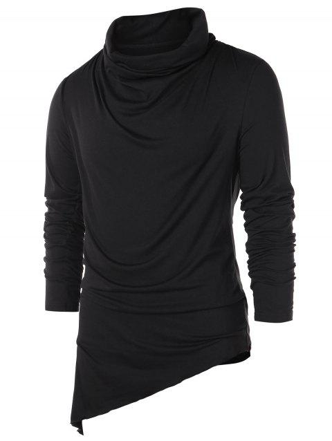 Asymmetric Pile Heap Collar Solid T-shirt - BLACK 2XL