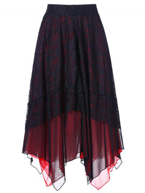 High Rise Lace Panel Handkerchief Skirt - BLACK M