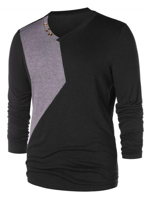 Casual V Neck Color Block T-shirt - BLACK XL