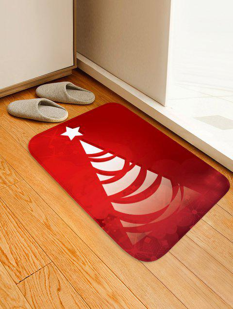 Christmas Tree Pattern Anti-skid Flannel Area Rug - RED W16 X L24 INCH